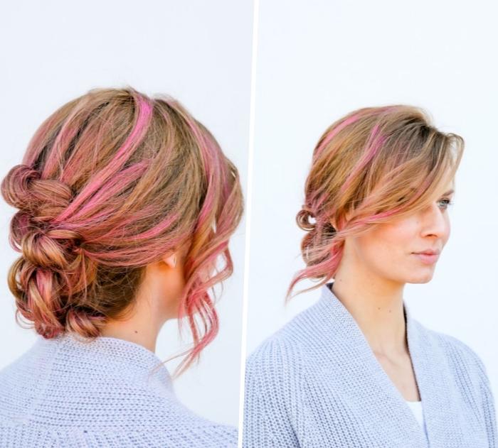 Acconciature belle, donna con capelli biondi, colpi di sole rosa