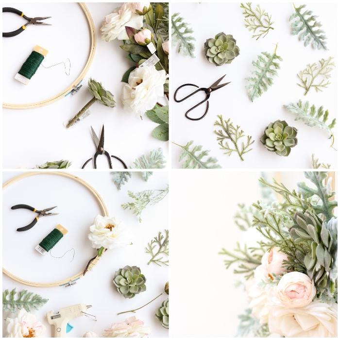 Tutorial con rametti e fiori finti, decorazioni pareti moderne, materiali per fare addobbi