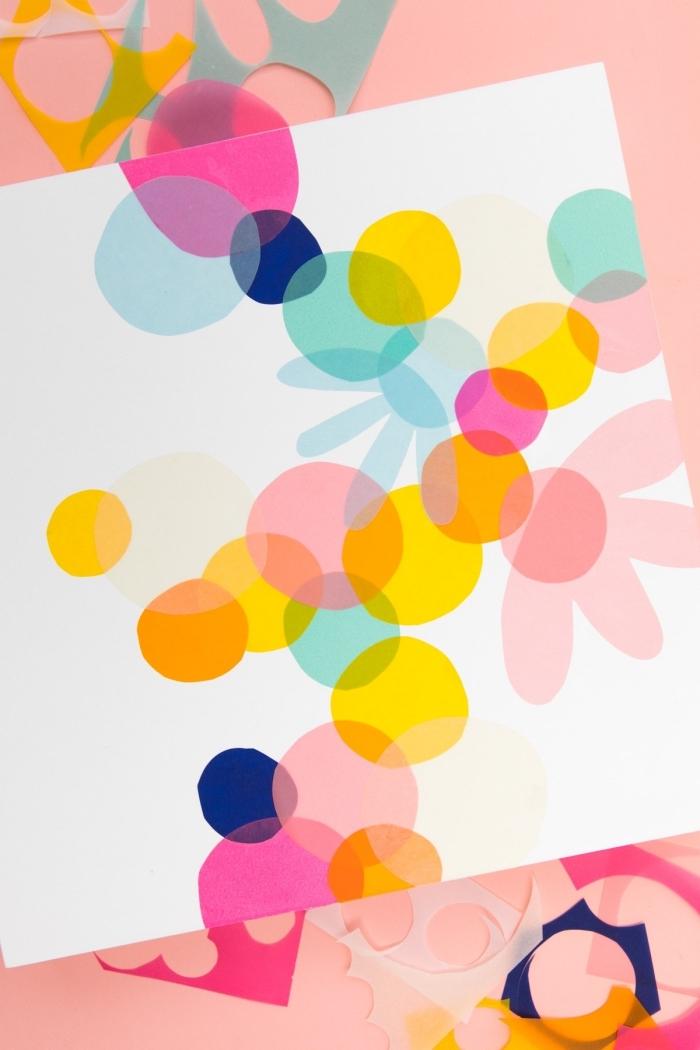 Disegno con carta colorata, ritagli di carta, decorazioni da parete