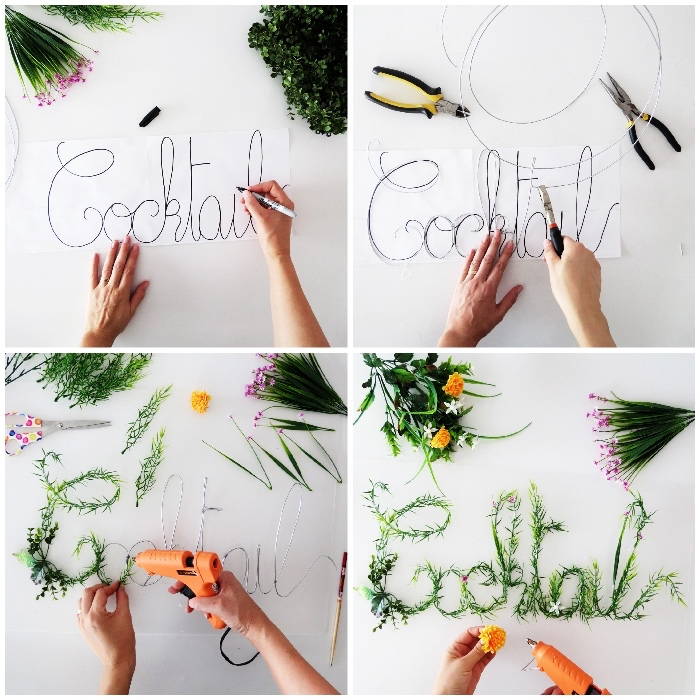 Tutorial con fiori e rametti verdi, filo di ferro e pinze, decorazioni pareti camera da letto
