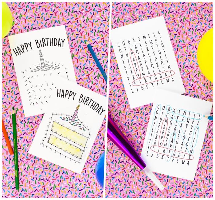 Lavoretti per compleanni, disegno di torta, pennarelli colorati, trovare le parole