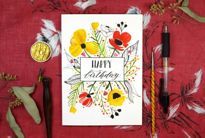 Lavoretti per compleanni, cartolina con scritta, disegni di fiori, penna nera