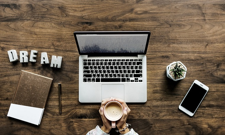 Studio in casa, scrivania di legno, vaso con pianta grassa