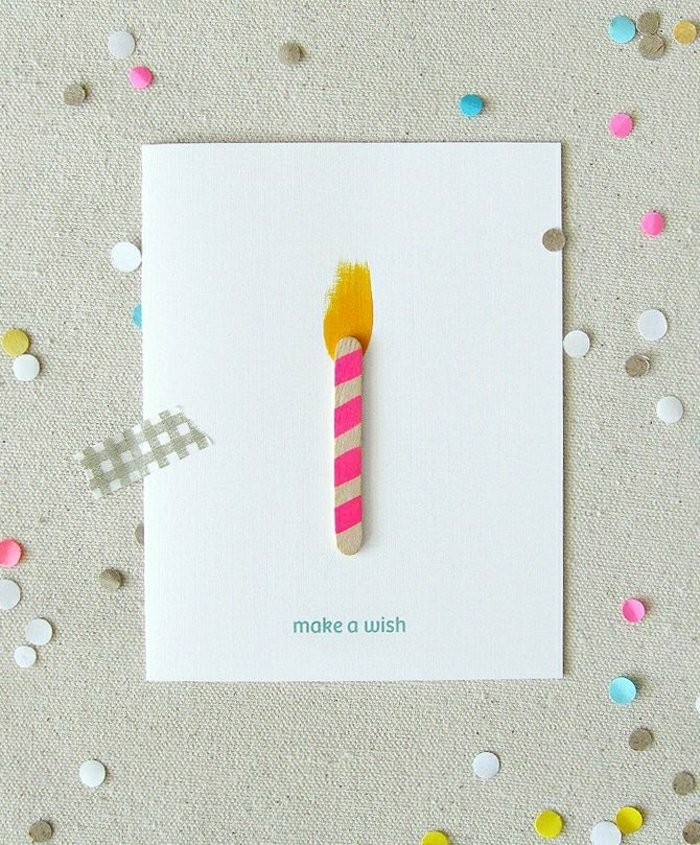 Bastoncino di legno, disegno colore giallo, bigliettino compleanno fatto a mano