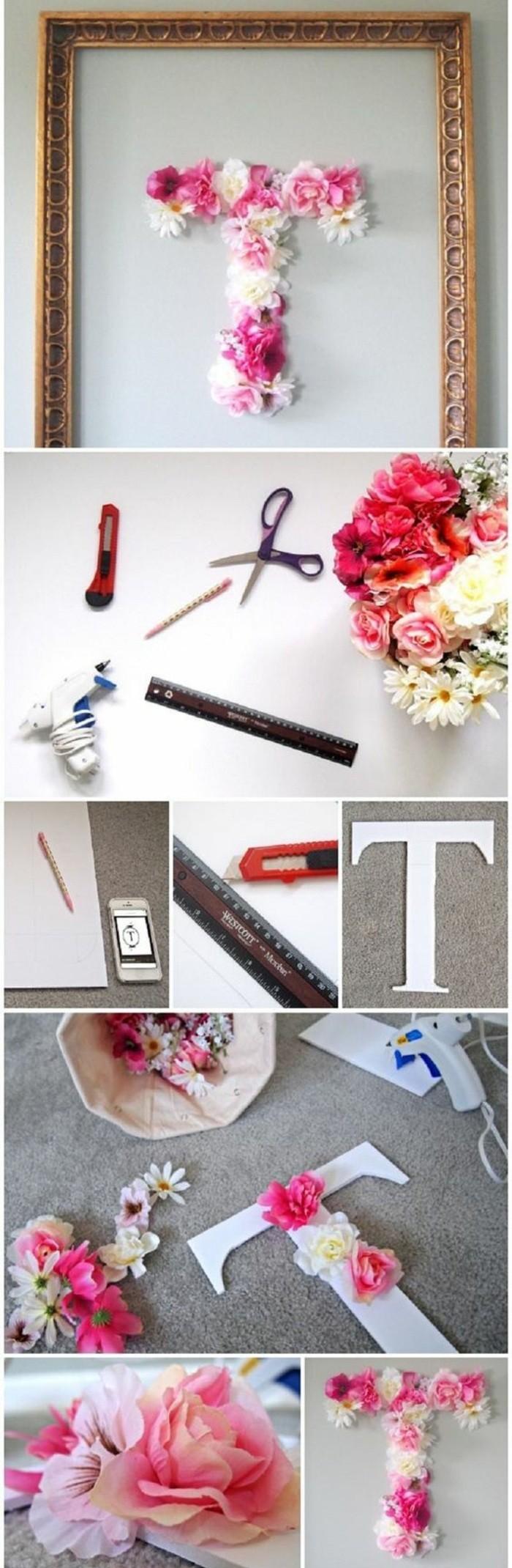 Come decorare le pareti, cornice di legno con lettera, lettera T con fiori