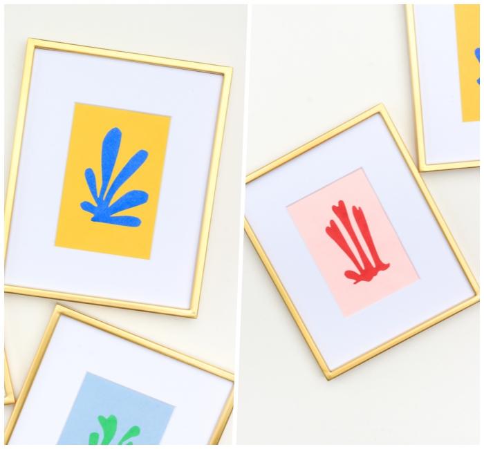 Scritte adesive per pareti, cornici con ritagli, cornice di colore oro