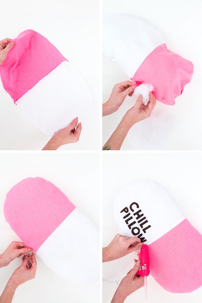 Cuscino a forma di pastiglia, tessuto rosa e bianco, idee regalo anniversario per lui