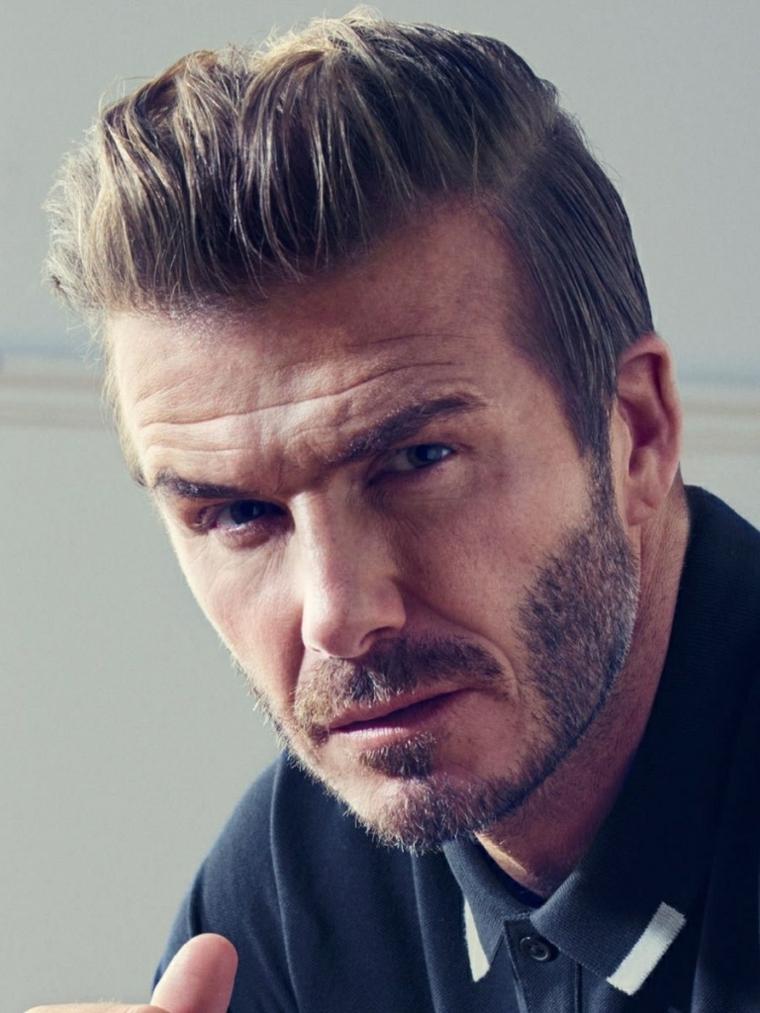 Capelli rasati ai lati, il calciatore David Beckham, uomo con barba