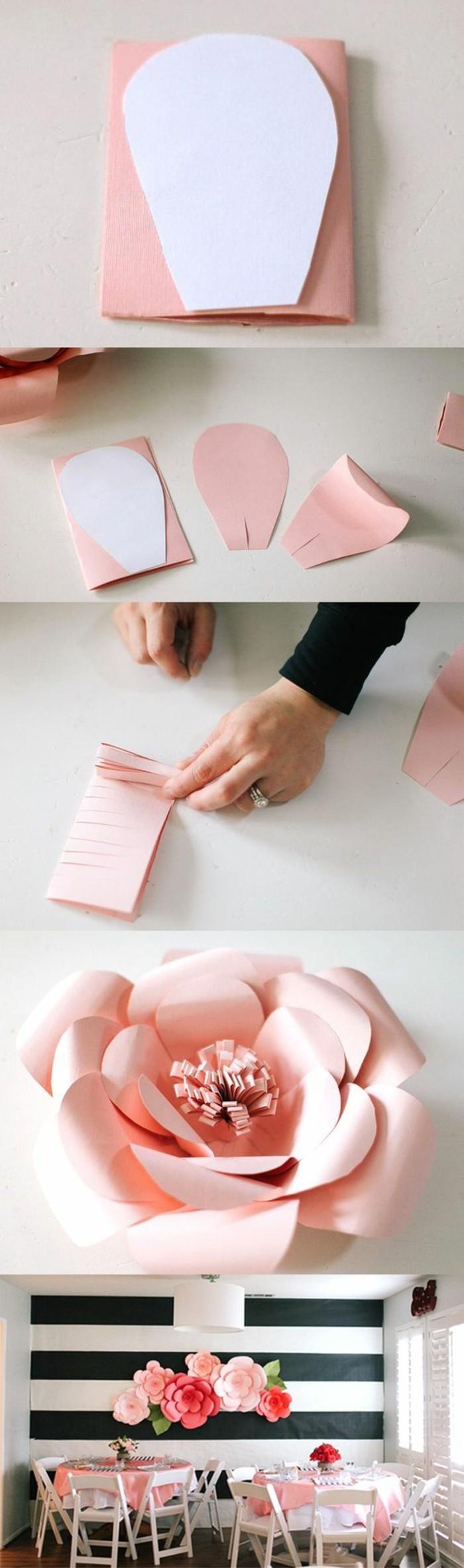 Fiori di carta, scritte adesive per pareti, come fare un fiore rosa