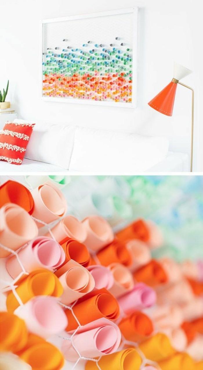 Quadro con figure di carta, cornice bianca per il soggiorno