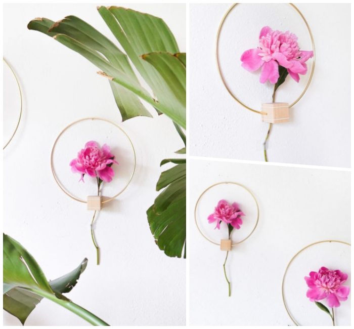 Come decorare le pareti, anello di metallo, anello con fiore
