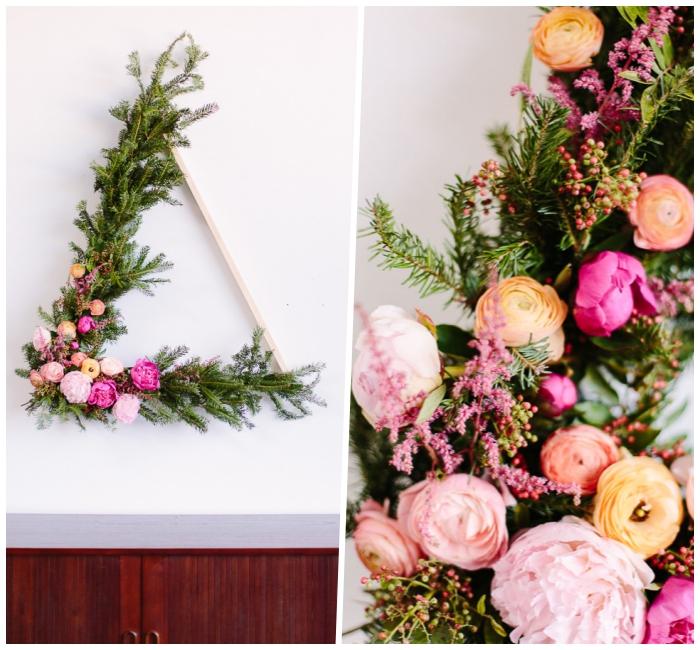 Triangolo di legno, come decorare le pareti, rametti e fiori finti