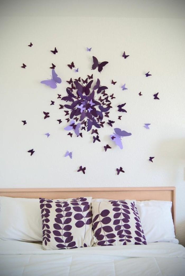 Decorazioni muri interni, camera da letto, parete con farfalle di carta