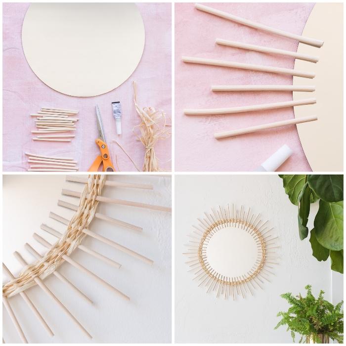 Tutorial per fare specchio, specchio rotondo, bastoncini di legno, decorazioni da parete