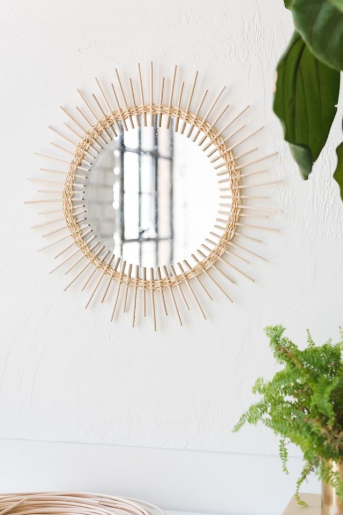 Decorazioni pareti camera da letto, specchio rotondo, specchio con bastoncini di legno