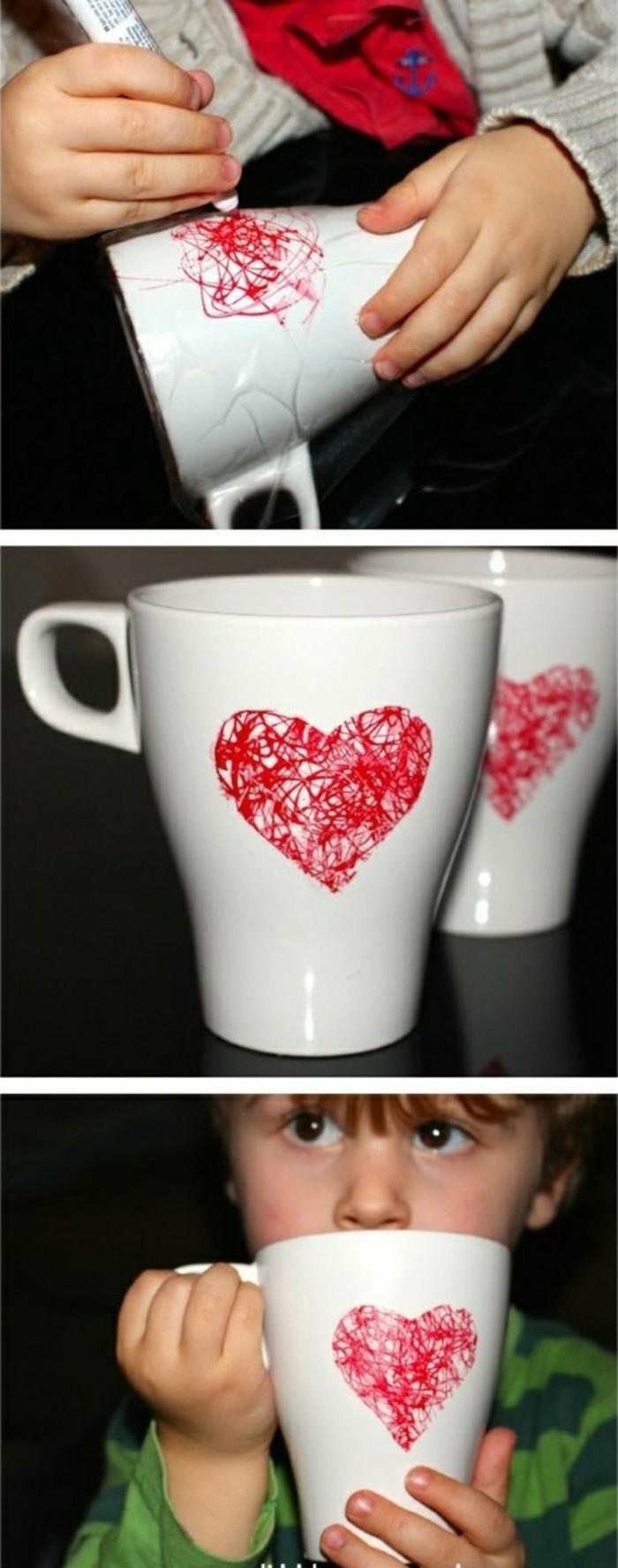 Idee regalo fai da te per amica, tazza con disegno, disegno cuore rosso