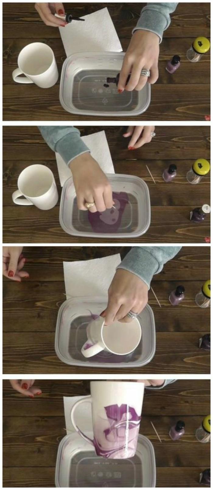 Decorare una tazza, bacinella con acqua e smalto, tutorial dipingere tazza