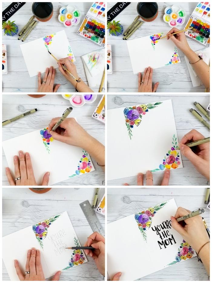 Tutorial con cartolina, biglietti compleanno fai da te, disegni colorati di fiori