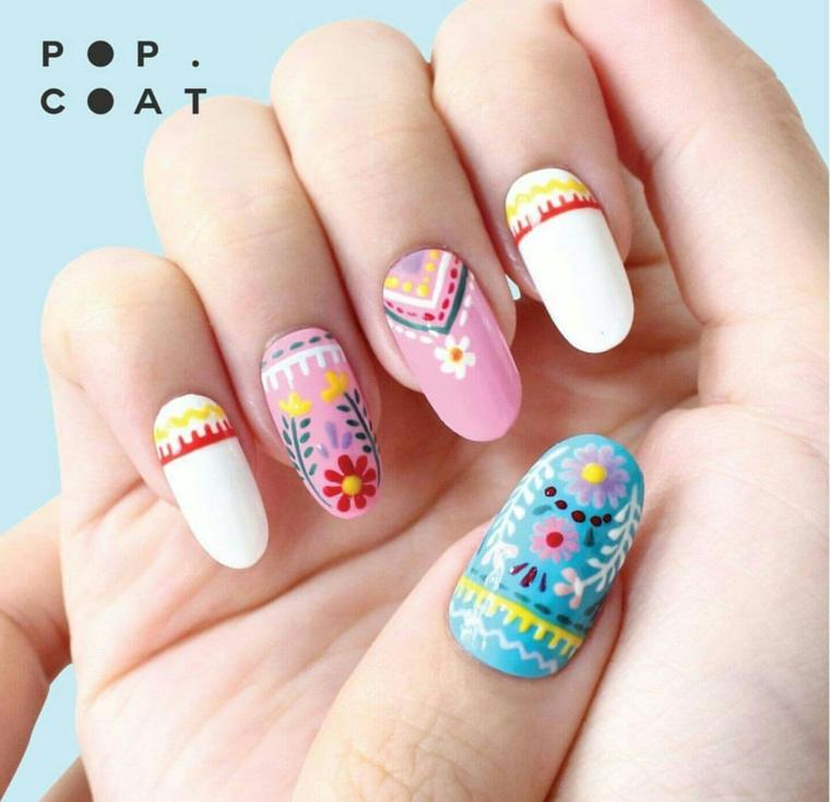 Disegni di fiori per unghie, smalti base colorati, unghie a mandorla