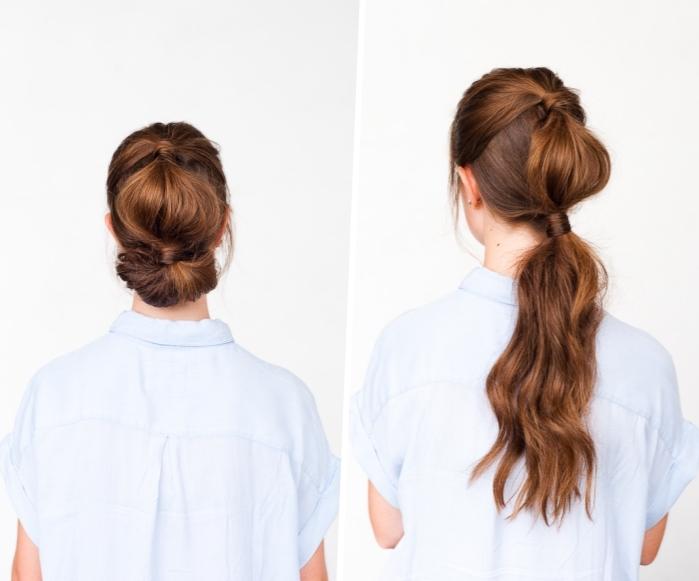 Pettinature capelli medi, acconciatura con chignon, capelli colore castano