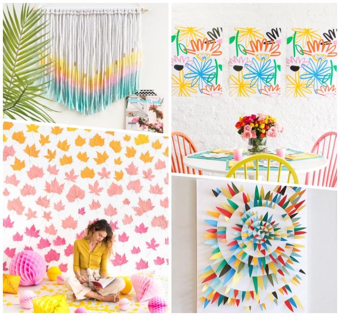 Decorazioni con fili, fiori attaccati alla parete, disegni su tela