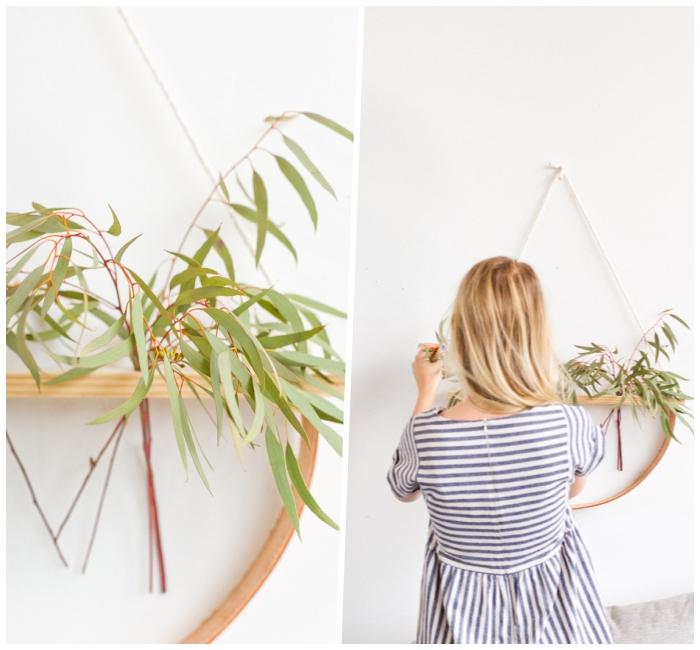 Come decorare le pareti, vaso di legno da appendere, donna con capelli biondi