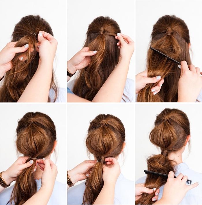 Acconciature semplici capelli lunghi, tutorial pettinatura, due code di cavallo