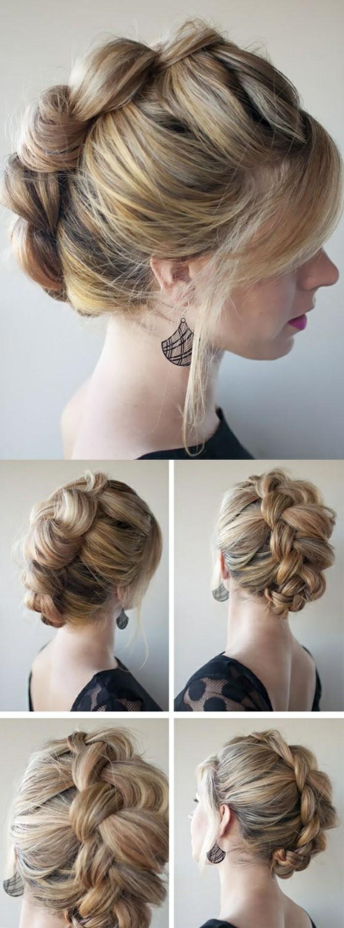 Acconciature capelli raccolti per cerimonia, capelli biondi, treccia legata
