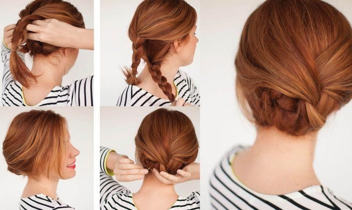 Pettinature capelli medi, capelli di colore rosso, due trecce