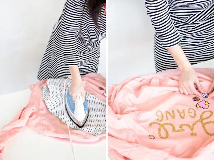 Pensierini carini. giacca bomber rosa, scritta su giacca, ferro da stiro