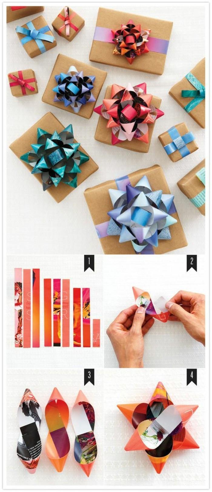 Pacchi regalo decorati, fiocchi di carta, tutorial come fare i fiocchi