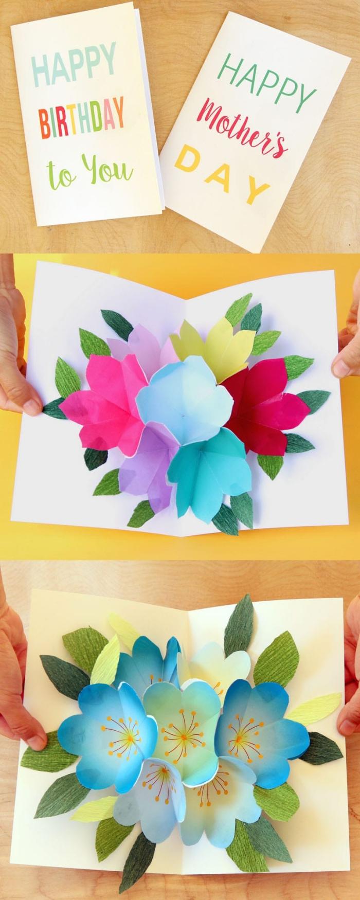 Cartolina ad armonica, disegno di carta fiori, biglietti auguri fai da te pop up