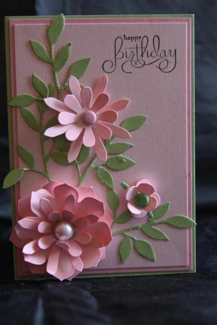 Fiori di carta, cartolina con perle, bigliettino fatto a mano