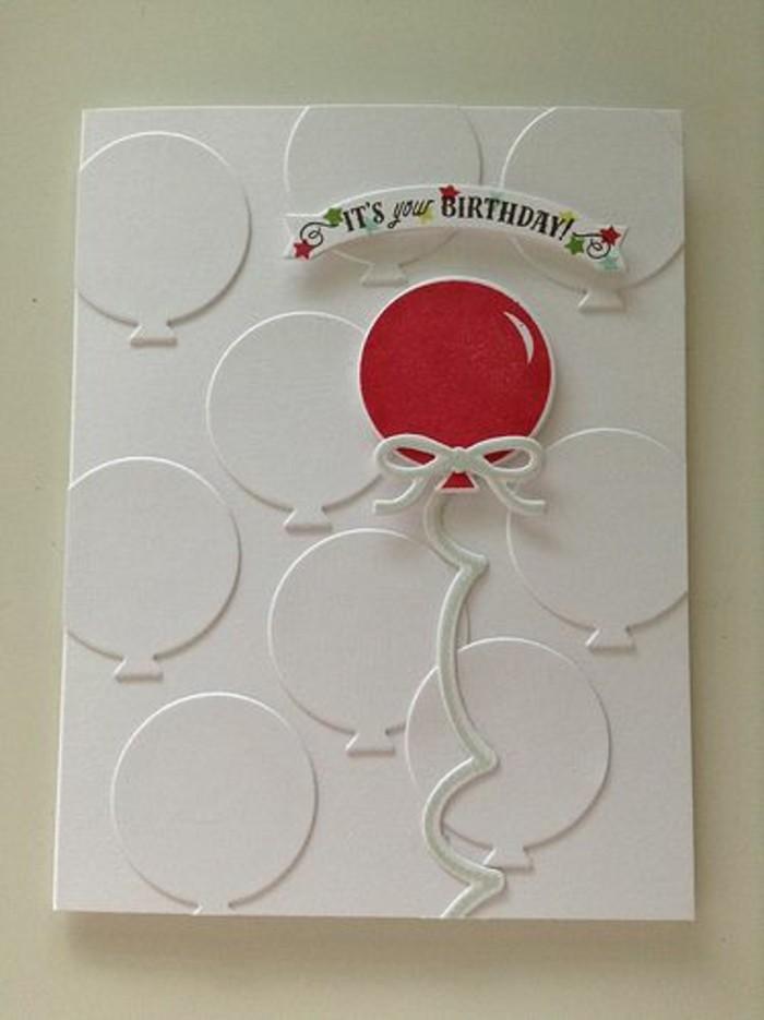 Bigliettino colore bianco, palloncino rosso, scritta buon compleanno