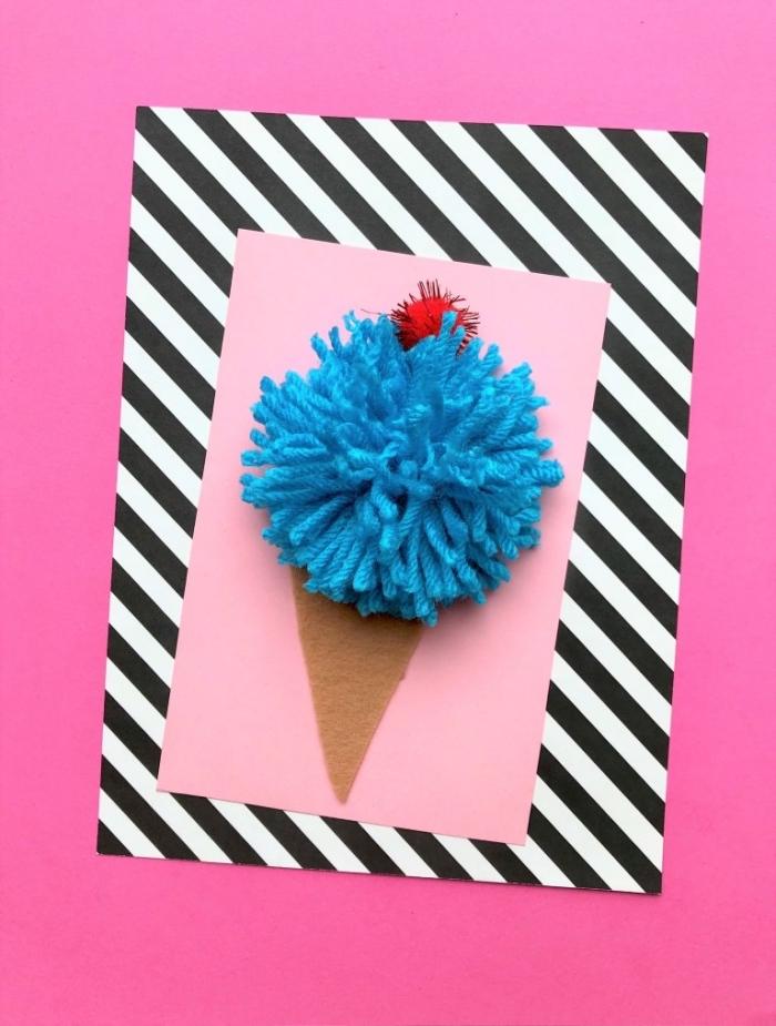 Biglietti buon compleanno, cartolina con cartoncino rosa, figura gelato cono