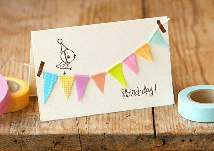 Biglietti buon compleanno, cartolina con ghirlanda, nastri washi tape