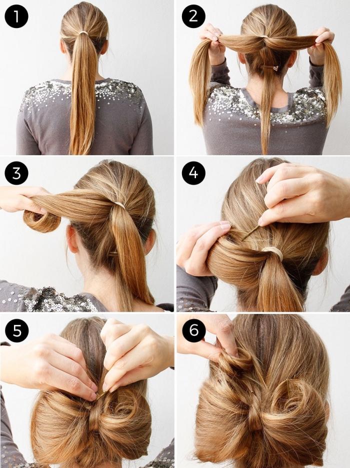 Acconciature capelli sciolti, capelli di colore biondo, come fare un fiocco con la chioma
