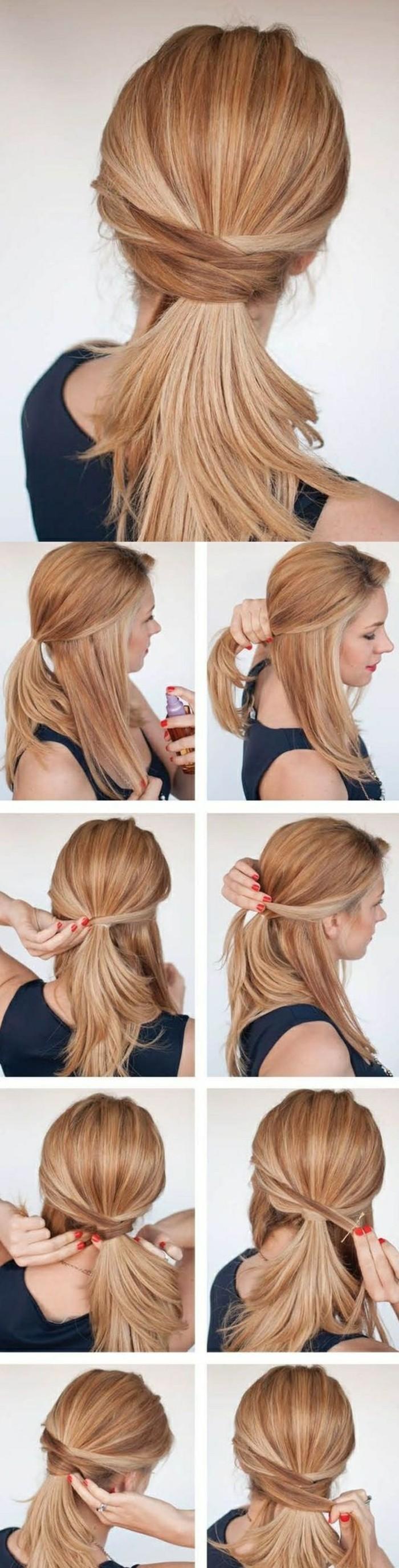 Acconciature capelli sciolti, capelli di colore biondo, tutorial per fare la coda