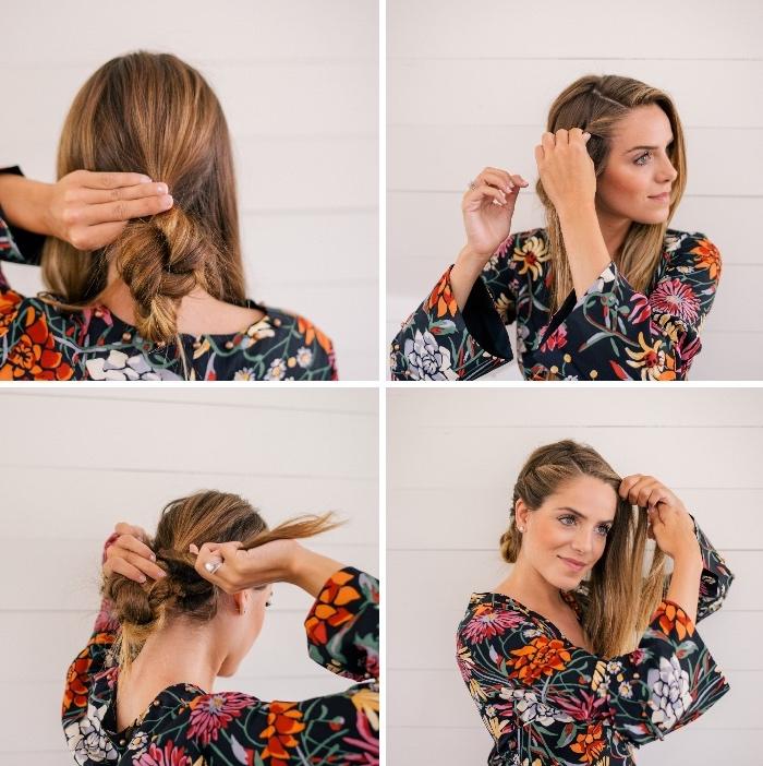 Pettinature capelli medi, tutorial per legare i capelli, donna con abito colorato