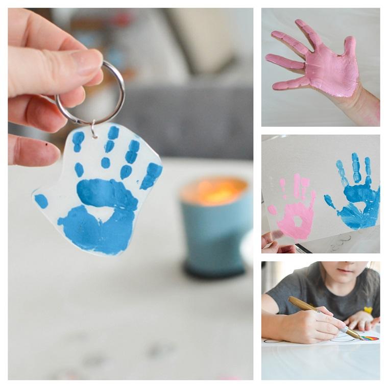 Portachiavi con impronta, regali per la festa del papà fatti a mano