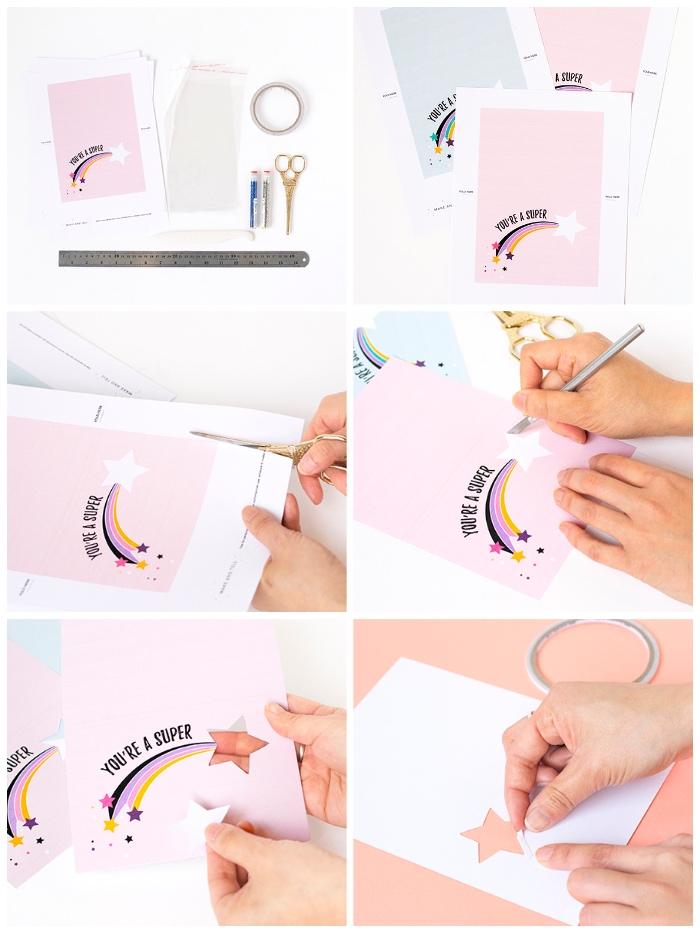 Come scrivere un biglietto di auguri, tutorial per una cartolina, disegno stella cadente