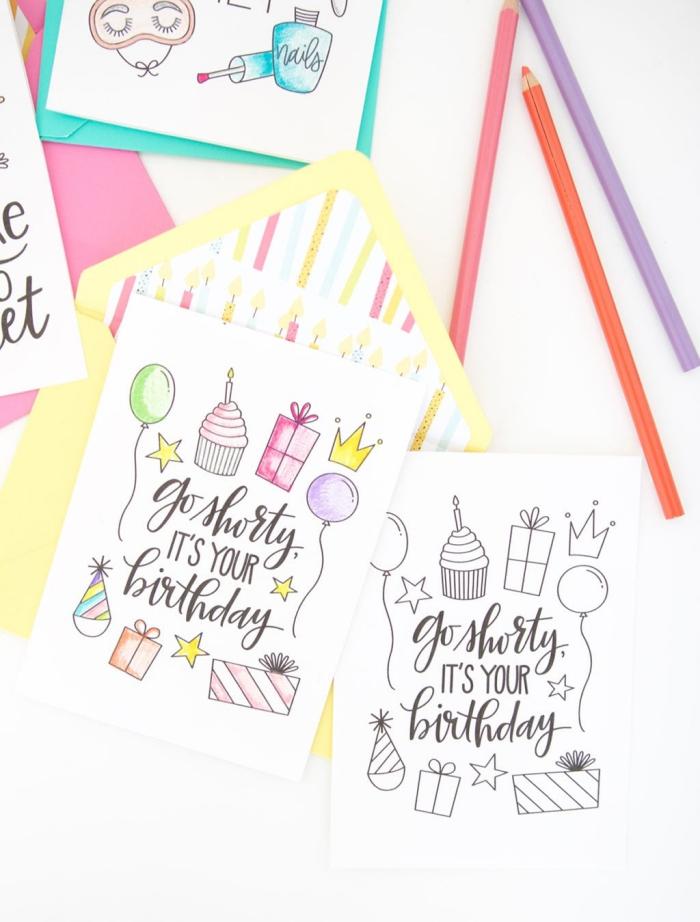 Buon compleanno personalizzato gratis, cartoline con disegni, scritte con matite
