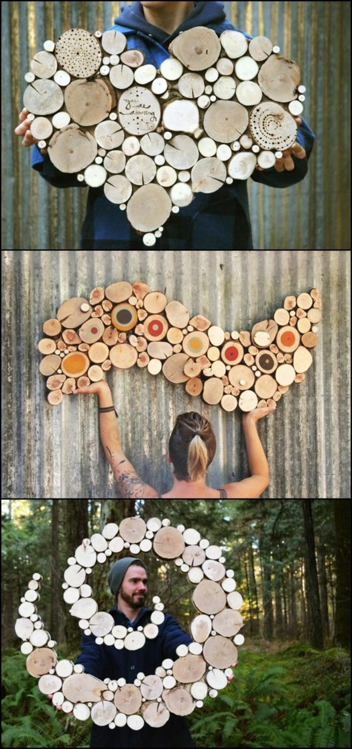 Decorazioni con legno, spirale con tronchetti di legno, uomo e donna