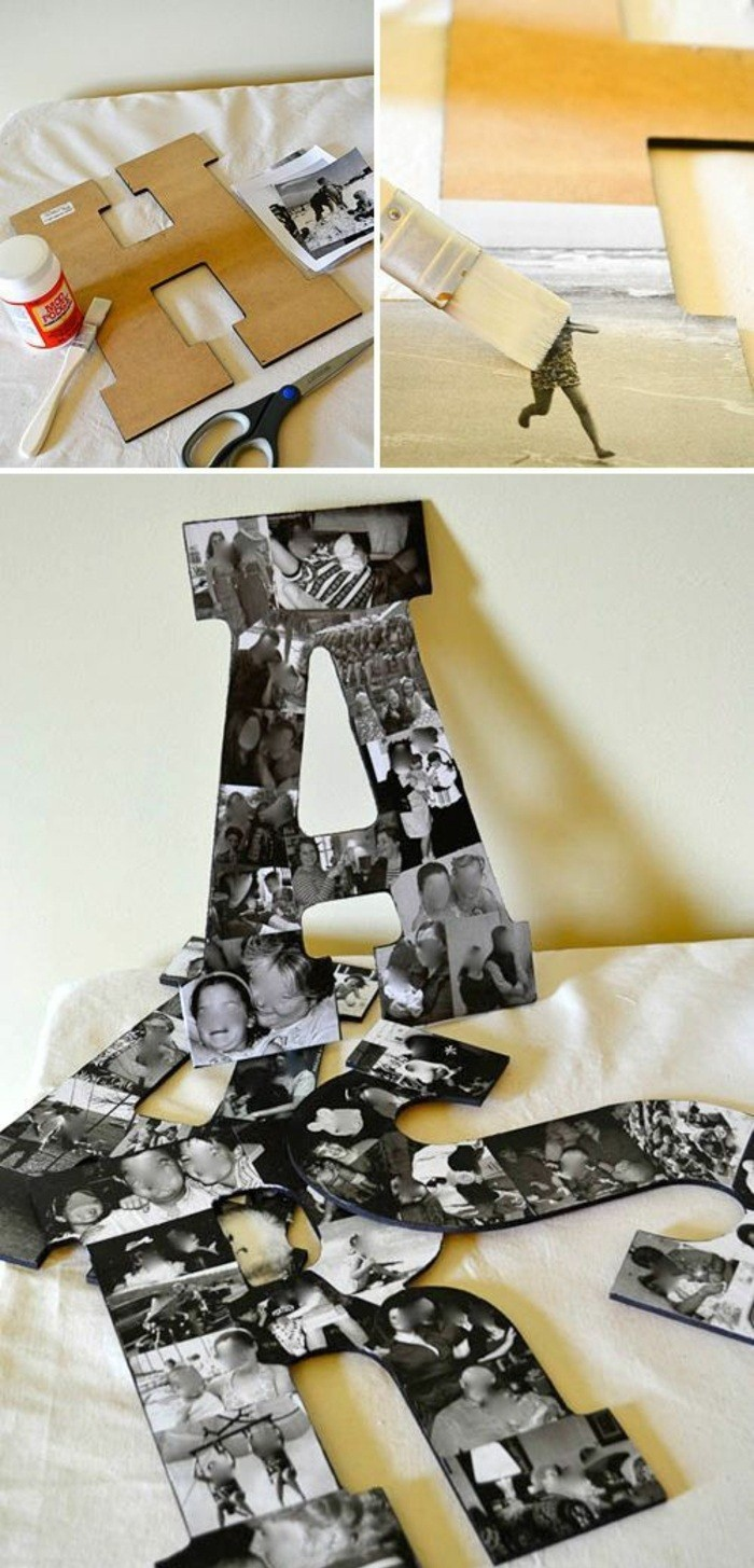 Lettere di cartone, lettere con collage di foto, decorazione per i muri