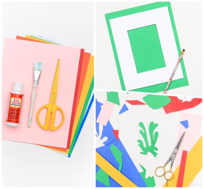 Stickers da muro, materiali come pennello e forbici, ritagli di cartoncini colorati