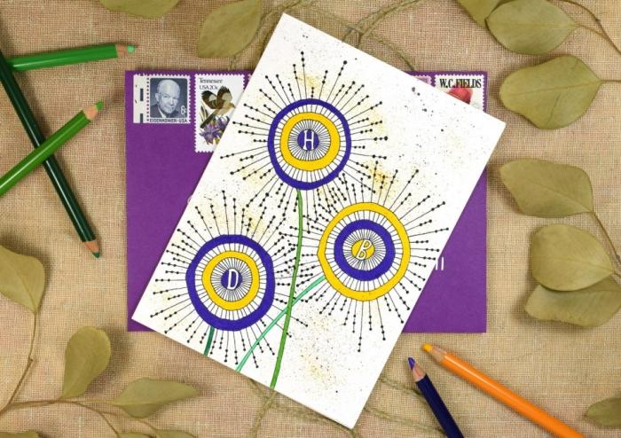 Biglietti auguri personalizzati online, cartolina con disegni, disegni di fiori