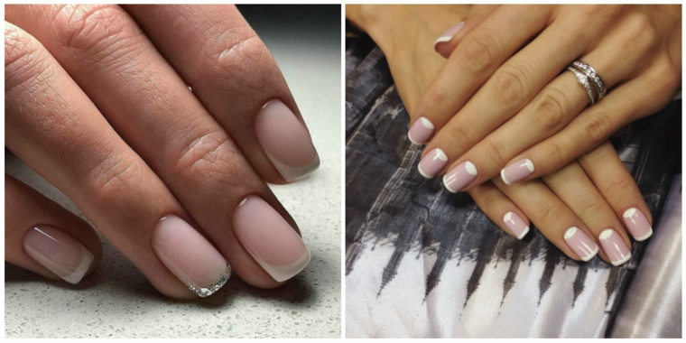 Unghie chiare, smalto di colore rosa, french manicure, immagini mani donna