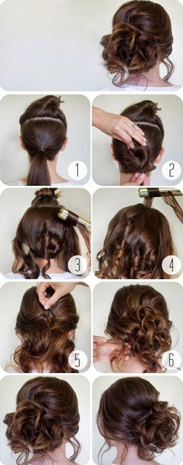 Acconciature capelli raccolti per cerimonia, capelli colore castano, chioma con ricci