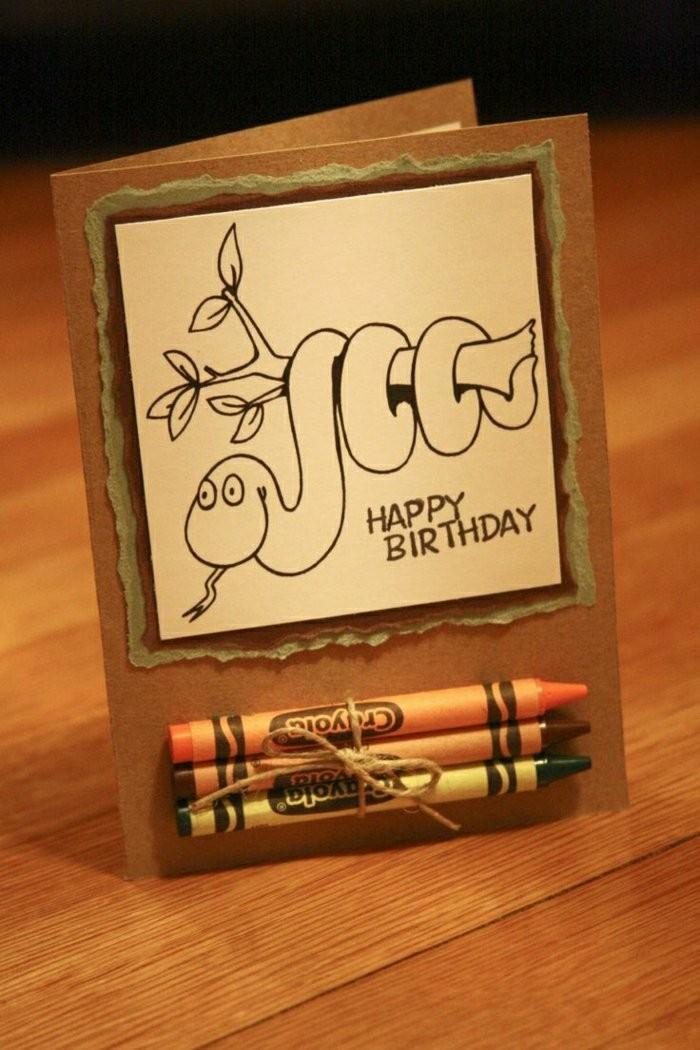 Pastelli legati, disegno a matita, biglietto compleanno, disegno di serpente