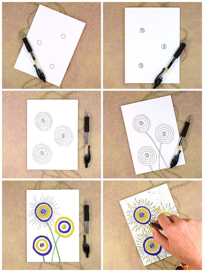 Buon compleanno personalizzato gratis, disegno con penna, disegno di fiori